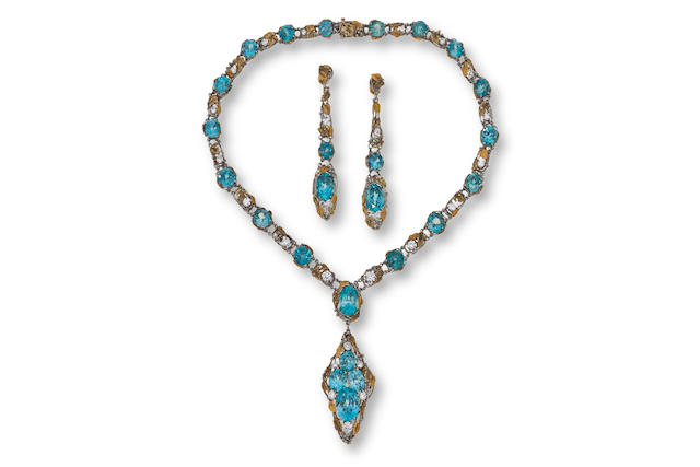 An arts and crafts blue zircon and diamond necklace and pendant earclips, attributed to Louis Comfort Tiffany for Tiffany & Co,