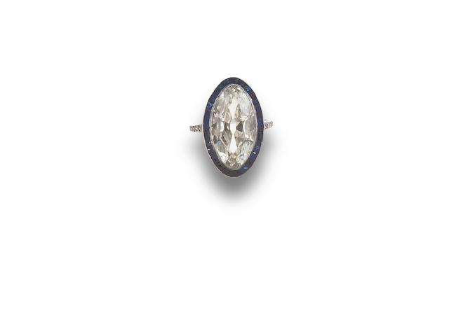 An art deco diamond and sapphire ring,