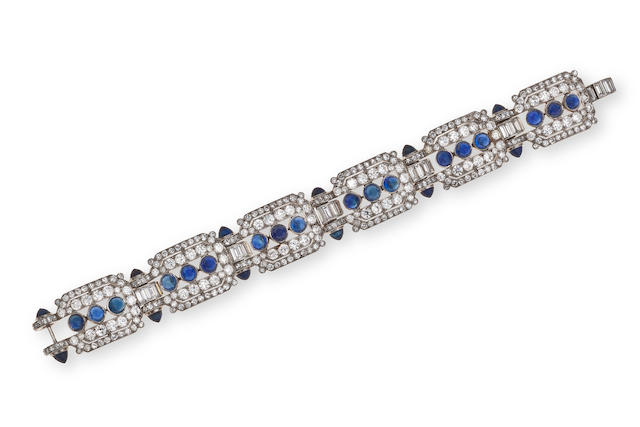 An art deco diamond and sapphire bracelet, Ostertag,