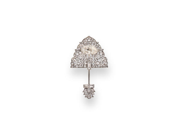 An art deco diamond jabot brooch, Cartier,