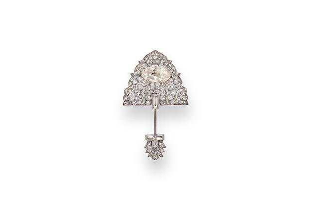 An art deco diamond jabot brooch, Cartier,