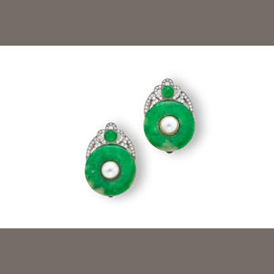 A pair of art deco jadeite jade, cultured pearl and diamond clips, Marsh & Co,