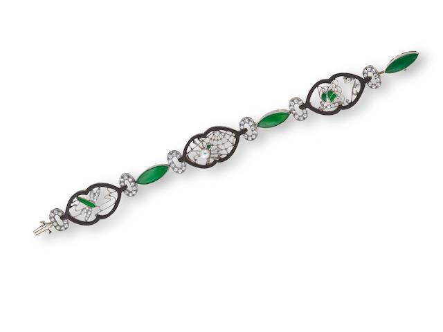 An art deco jadeite jade and diamond bracelet, Marsh & Co,