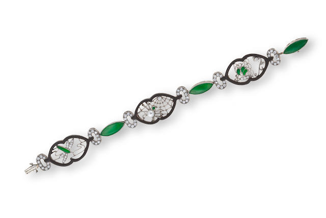 An art deco jadeite jade and diamond bracelet, Marsh & Co,