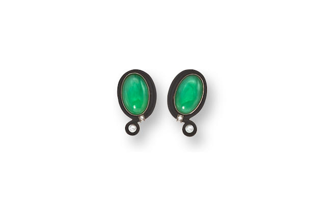 A pair of art deco jadeite jade, cultured pearl and diamond earclips, Marsh & Co,