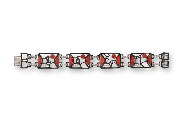 An art deco coral and diamond bracelet, Marsh & Co,