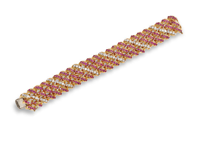 A ruby, diamond and eighteen karat gold bracelet, Tiffany & Co.