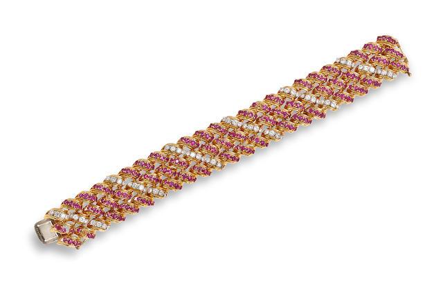 A ruby, diamond and eighteen karat gold bracelet, Tiffany & Co.