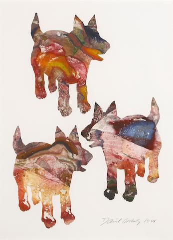 David James Gilhooly (American, born 1943) Three Dog Night, 1988  30 x 22in