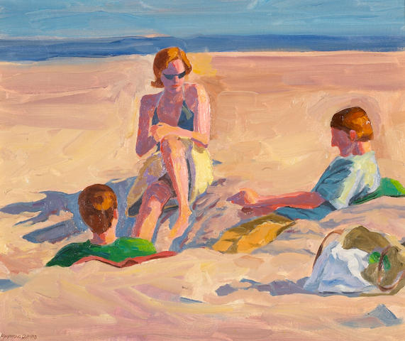 Raymond Cuevas (American, born 1932) Beach Philosophers, 2005 16 x 20in