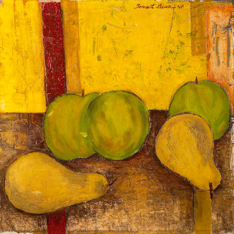 Forrest Clemenger Bess (American, 1911-1977) Still life with green apples and pears, 1948 11 7/8 x 11 7/8in (30.2 x 30.2cm) unframed