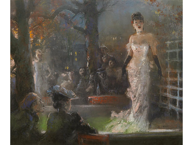 Everett Shinn (American, 1876-1953) The Singer, 1920 13 x 16 1/2in