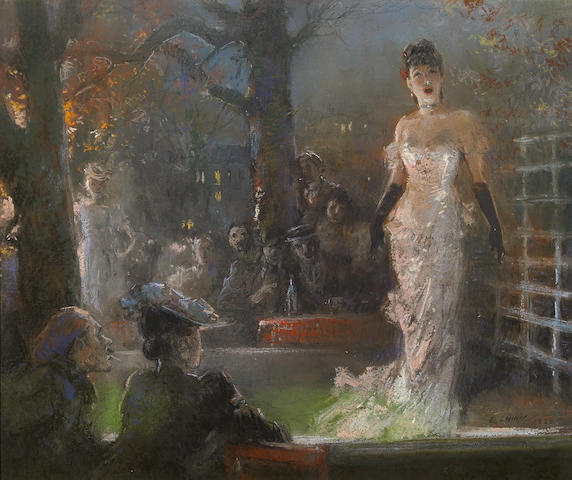 (n/a) Everett Shinn (American, 1876-1953) The Singer, 1920 13 x 16 1/2in