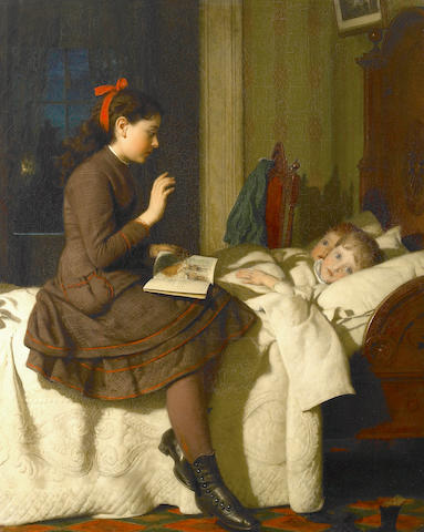 Seymour Joseph Guy (American, 1824-1910) The Bed Time Story, 1878 34 x 27 1/2in