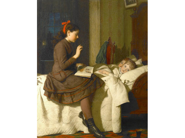 (n/a) Seymour Joseph Guy (American, 1824-1910) The Bed Time Story, 1878 34 x 27 1/2in
