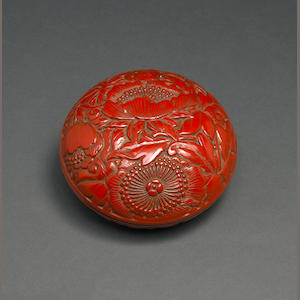 A carved tsuishu lacquer box  Ming Dynasty