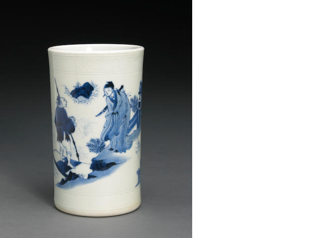 A blue and white porcelain brush pot  Transitional Period