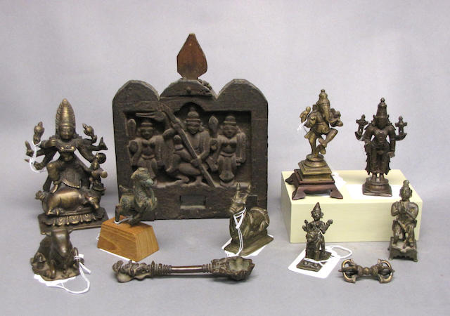 A group nine small Indian metal decorative articles