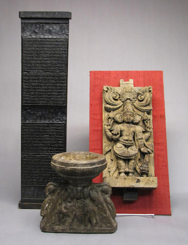 Two Indian wood architectural objects