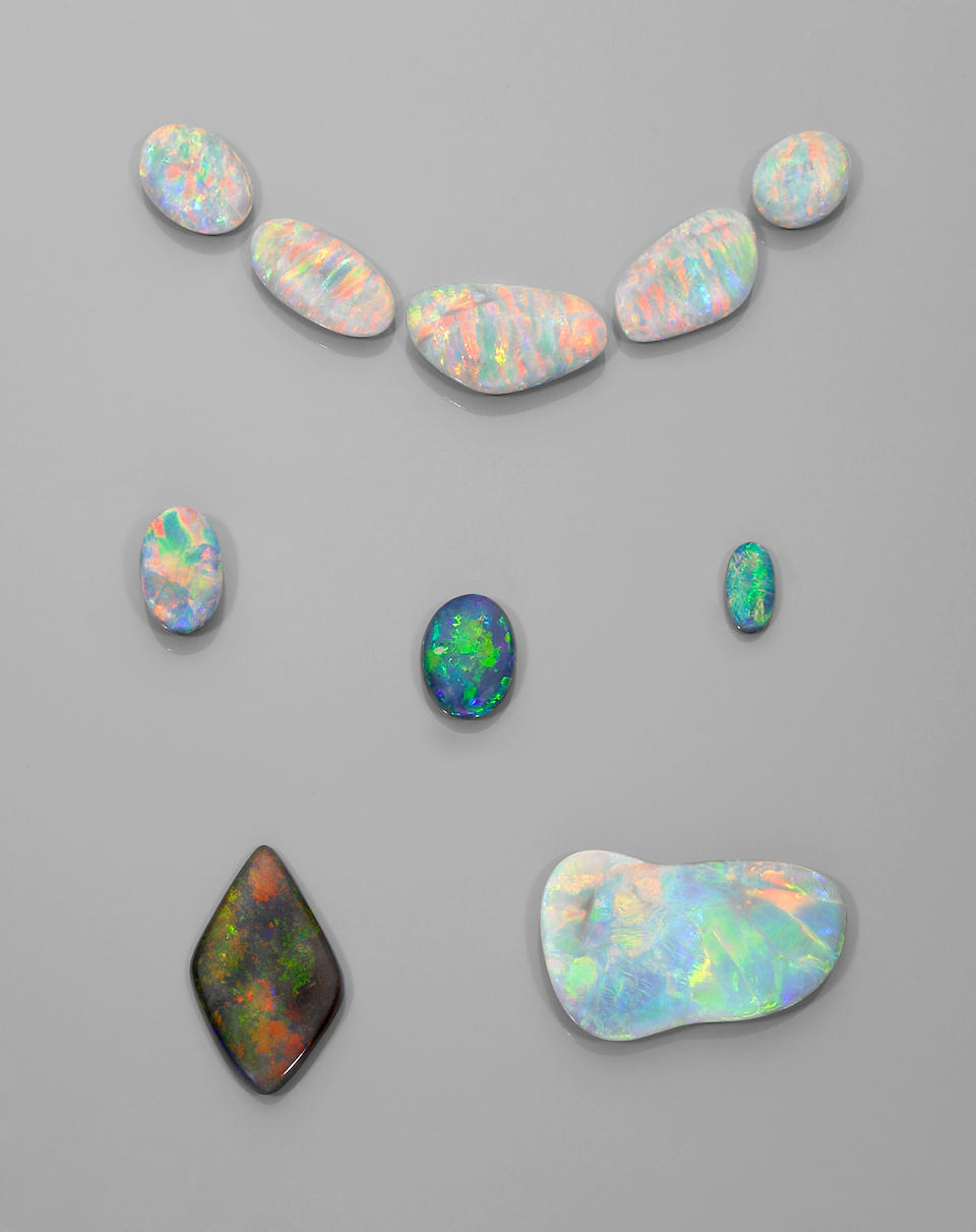 Suite of Five Exceptional Black Crystal Opals