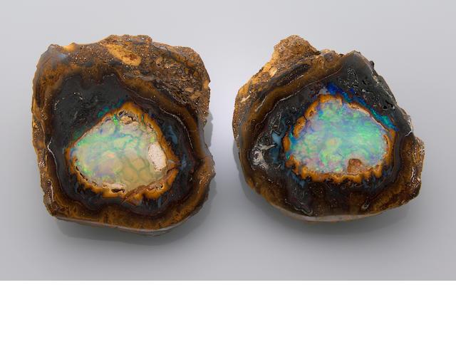 "Gem-Quality Opal Nodule Split—""Yowah Nut"""