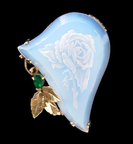 "Blue Highlight Opal Reverse Intaglio Brooch/Pendant—""The Rose"""