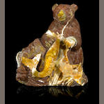 Opal in Matrix Carving of a Bear Fishing for Salmon