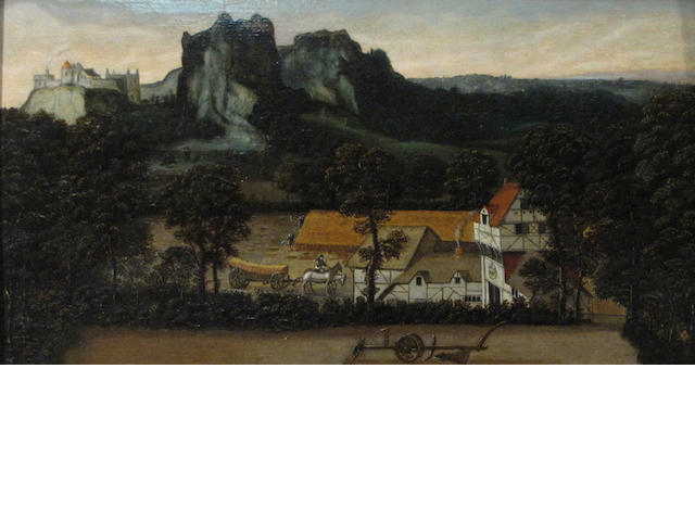 Workshop of Lucas Gassel (Helmont circa 1500-circa 1570) An extensive landscape with workers harvesting wheat in the foreground 11 1/4 x 20 3/4in