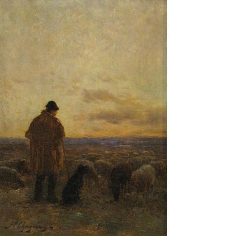 Jean Ferdinand Chaigneau (French, 1830-1906) A shepherd and his flock 8 3/4 x 6 1/4in