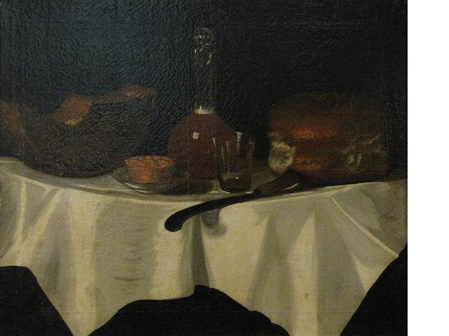 A still life with bread and wine 25 x 30in