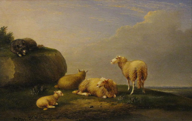 Franz van Severdonck (Belgian, 1809-1889) Sheep in a landscape with a dog nearby 6 3/4 x 10 1/4in