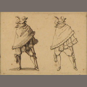 Jacques Collot, Etching of study a man wrapped in fur (L. 442)