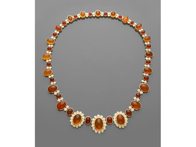 Magnificent Orange Fire Opal and Diamond Necklace