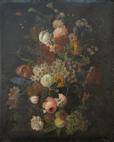 After Rachel Ruysch A still life with flowers and fruit; A still life with flowers and a bird's nest (a pair) each 37 1/2 x 29 1/2in