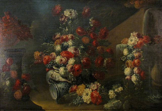 Continental School A still life of vases and bunches of flowers beside a fountain in a garden 31 x 45in