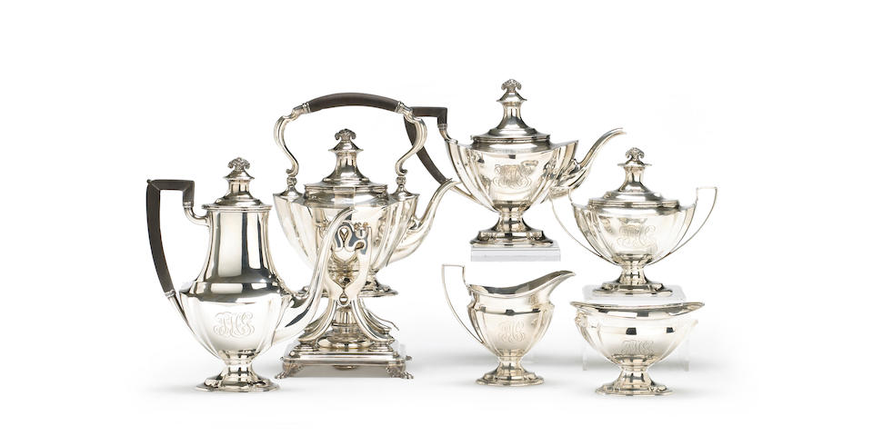A sterling six-piece colonial revival tea and coffee service by Tiffany & Co.
