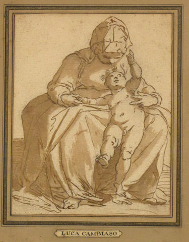 Circle of Luca Cambiaso (Moneglia 1527-1585 Madrid) Madonna and child 6 x 4 3/4in