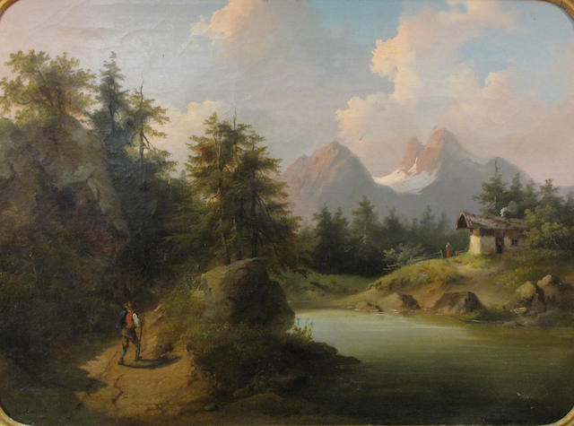Gustav Barbarini (Austrian, 1840-1909) A mountainous landscape with a figure walking on a path along a river 17 3/4 x 24in