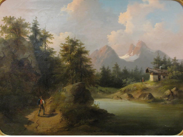 Barbarini, Mountainous landscape with cottage, Oil on Canvas, 17 x 23