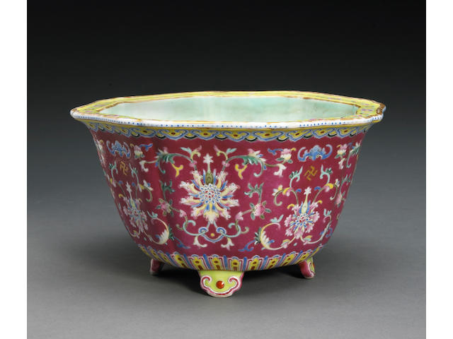 A ruby red ground enameled porcelain jardinière with famille rose enamel decoration Jiaqing Mark, Republic Period