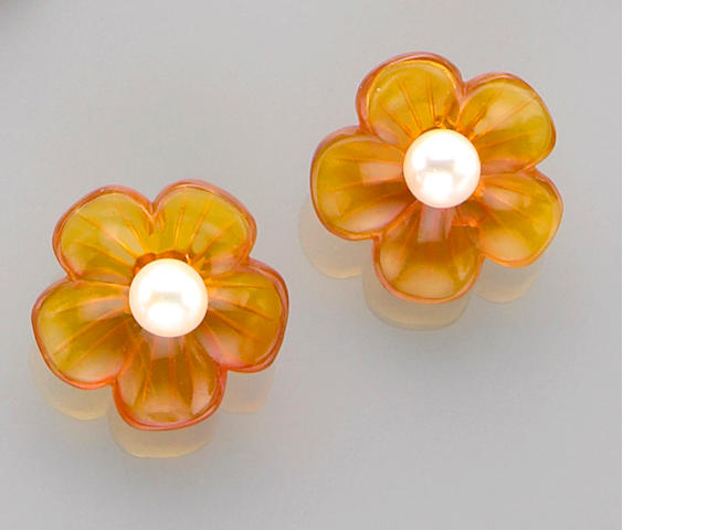 Pair of Carved Flower-form Orange Opal and Pearl Earrings