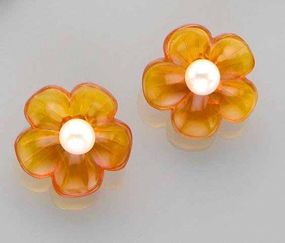 Pair of Carved Flower-form Orange Opal and Pearl Earrings