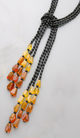 Orange Oregon Opal and Black Coral Lariat Necklace