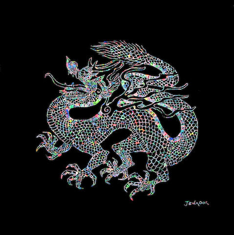 "Reverse Intaglio Gem Black Opal Inlay—""The Imperial Dragon"""