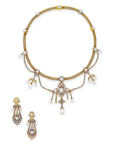 An antique diamond and pearl necklace and earclips,
