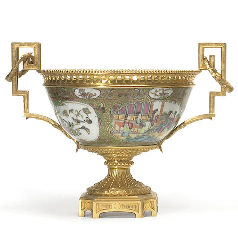 A French gilt bronze mounted Chinese export porcelain bowl  19th century