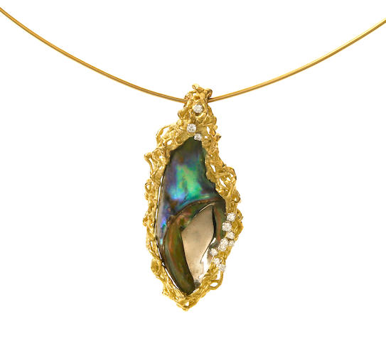 An abalone pearl and diamond pendant necklace, Andrew Grima,