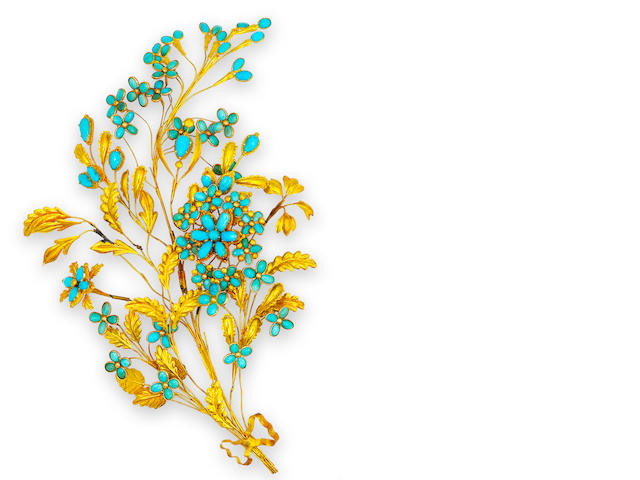 An antique eighteen karat gold and turquoise hair ornament,
