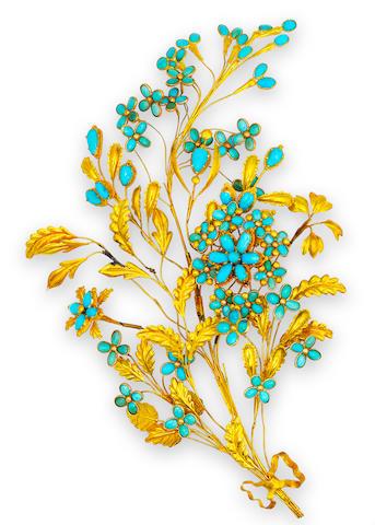 An antique eighteen karat gold and turquoise hair ornament,