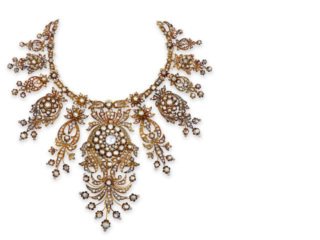 An antique diamond necklace,
